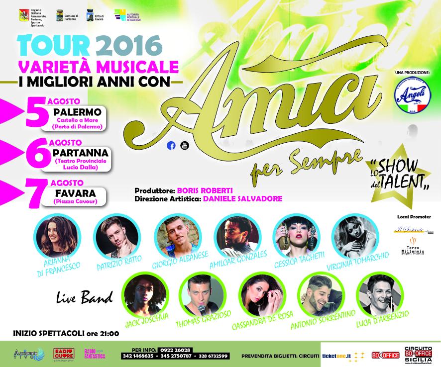 I finalisti di Amici di Maria De Filippi in tour il 5, 6 e 7 Agosto in Sicilia