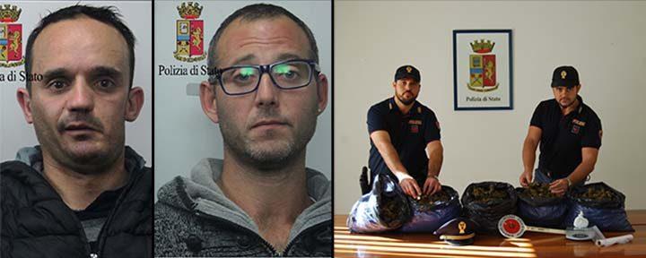 Marsala sequestrati un etto di cocaina e cinque chili di marijunana, due arresti