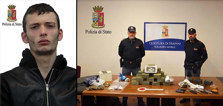 La Squadra Mobile ha sequestrato stupefacente per un valore complessivo di 320 mila euro e arrestato un giovane