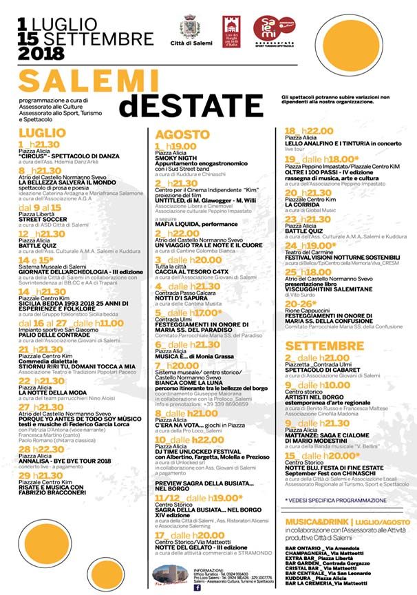 Salemi d'Estate 2018 programma