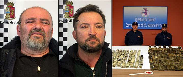 Sequestrati cinquantotto chili di hashish, arrestati due cittadini mazaresi
