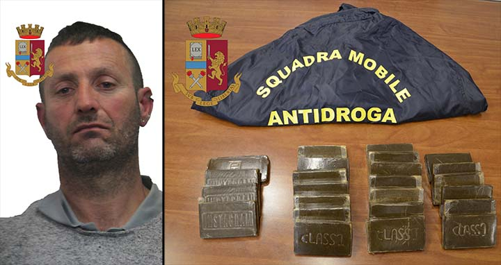 Trasportava 24 panetti di hashish con un auto a noleggio, arrestato dalla Polizia a Trapani