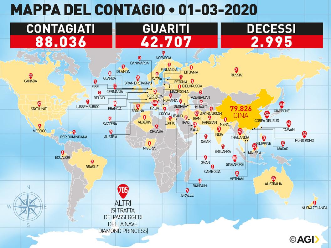 Diffusione del coronavirus nel mondo diffusa il 01/03/2020 dall'AGI